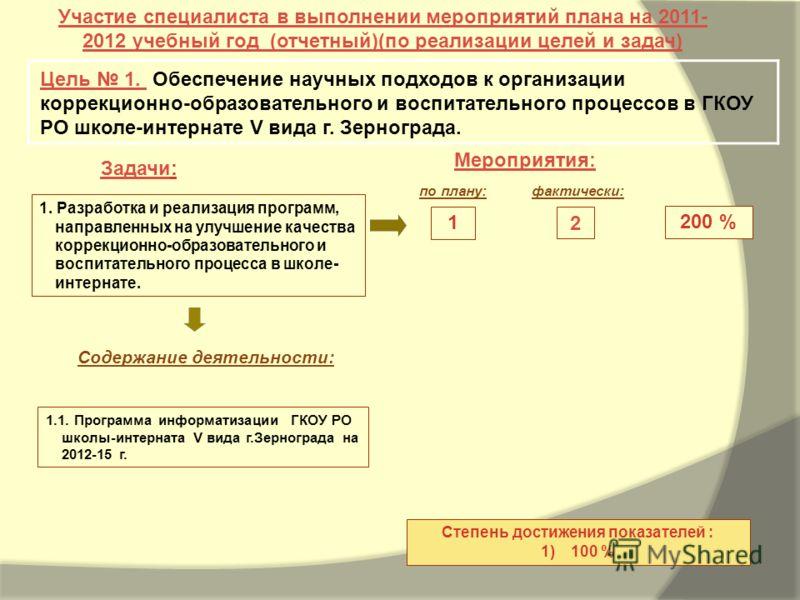 Задачи: Мероприятия: Участие специалиста в выполнении мероприятий плана на 2011- 2012 учебный год (отчетный)(по реализации целей и задач) Цель 1. Обеспечение научных подходов к организации коррекционно-образовательного и воспитательного процессов в Г