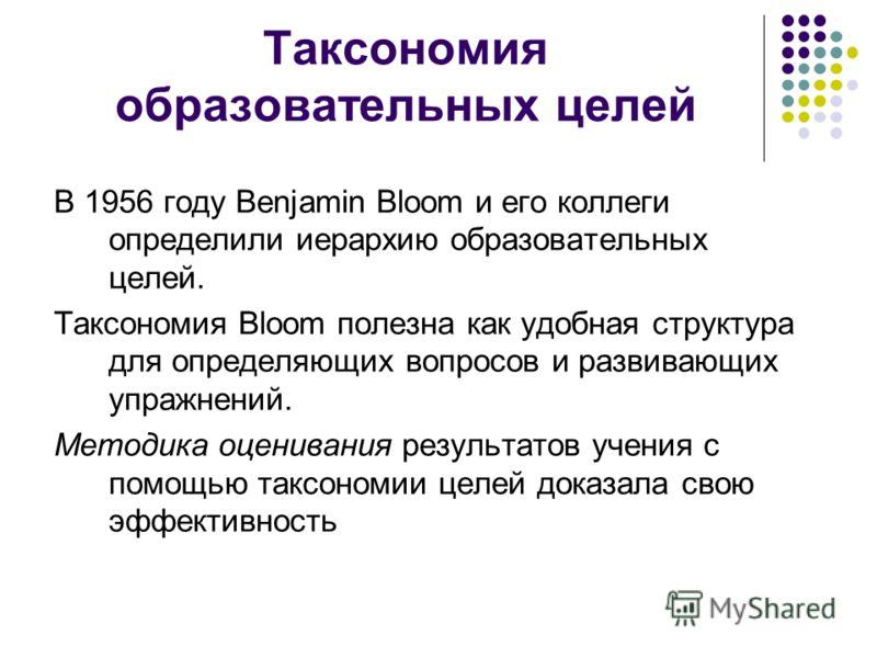 Таксономия образовательных целей В 1956 году Benjamin Bloom и его коллеги определили иерархию образовательных целей. Таксономия Bloom полезна как удобная структура для определяющих вопросов и развивающих упражнений. Методика оценивания результатов уч