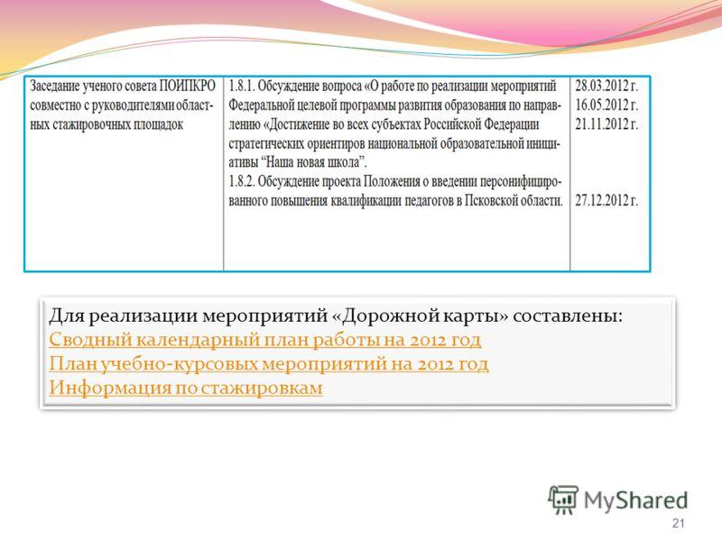 21 Для реализации мероприятий «Дорожной карты» составлены: Сводный календарный план работы на 2012 год План учебно-курсовых мероприятий на 2012 год Информация по стажировкам Для реализации мероприятий «Дорожной карты» составлены: Сводный календарный