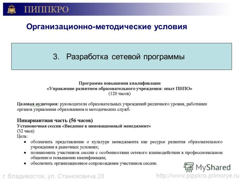 Организационно-методические условия 3. Разработка сетевой программы
