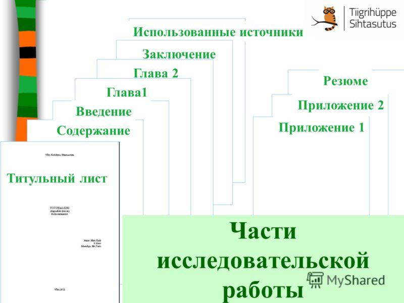 Использованные источникиЗаключение Резюме Глава 2 Глава1 Введение Содержание Приложение 2 Приложение 1 Титульный лист Части исследовательской работы