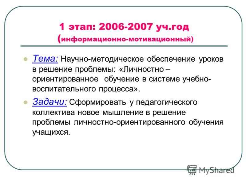 1 этап: 2006-2007 уч.год ( информационно-мотивационный) Тема: Научно-методическое обеспечение уроков в решение проблемы: «Личностно – ориентированное обучение в системе учебно- воспитательного процесса». Задачи: Сформировать у педагогического коллект