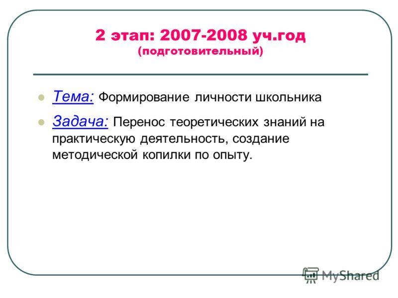 2 этап: 2007-2008 уч.год (подготовительный) Тема: Формирование личности школьника Задача: Перенос теоретических знаний на практическую деятельность, создание методической копилки по опыту.