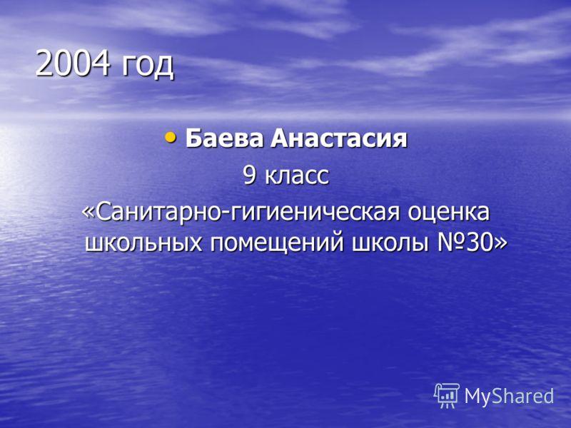 2004 год Баева Анастасия Баева Анастасия 9 класс «Санитарно-гигиеническая оценка школьных помещений школы 30»