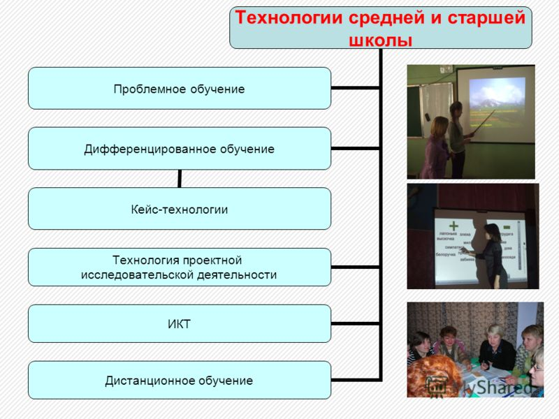 Технологии средней и старшей школы Проблемное обучение Дифференцированное обучение Кейс-технологии Технология проектной исследовательской деятельности ИКТ Дистанционное обучение