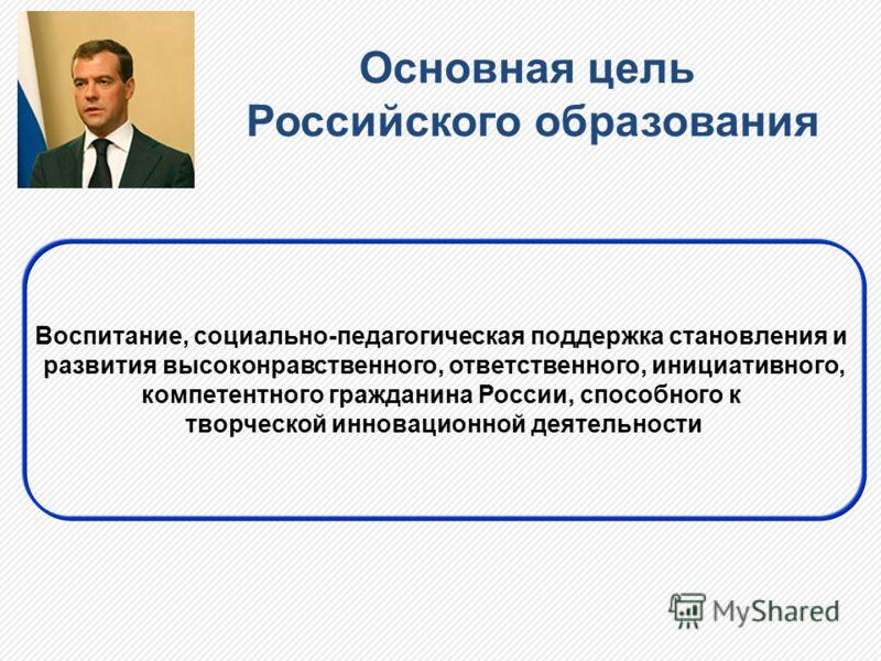 Основная цель Российского образования Воспитание, социально-педагогическая поддержка становления и развития высоконравственного, ответственного, инициативного, компетентного гражданина России, способного к творческой инновационной деятельности