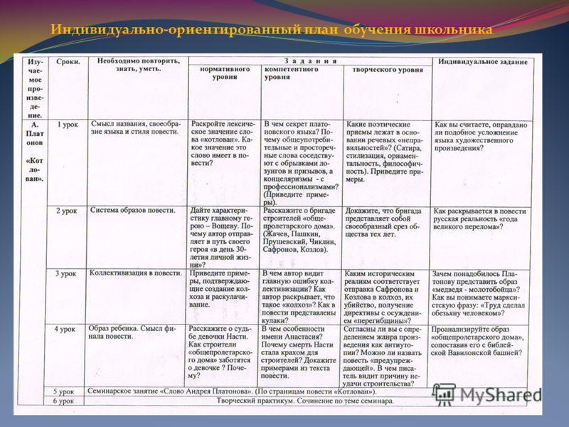 Индивидуально-ориентированный план обучения школьника