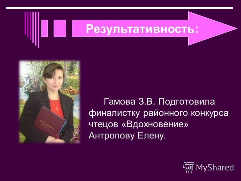 Результативность: Гамова З.В. Подготовила финалистку районного конкурса чтецов «Вдохновение» Антропову Елену.