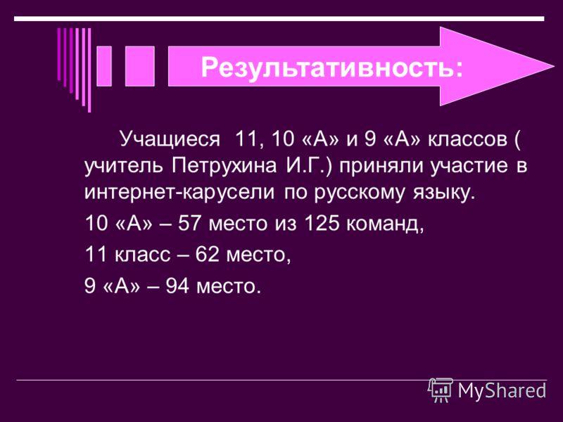 Результативность: Учащиеся 11, 10 «А» и 9 «А» классов ( учитель Петрухина И.Г.) приняли участие в интернет-карусели по русскому языку. 10 «А» – 57 место из 125 команд, 11 класс – 62 место, 9 «А» – 94 место.
