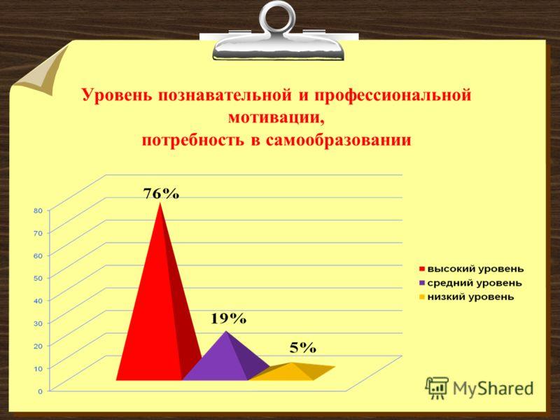 Уровень познавательной и профессиональной мотивации, потребность в самообразовании