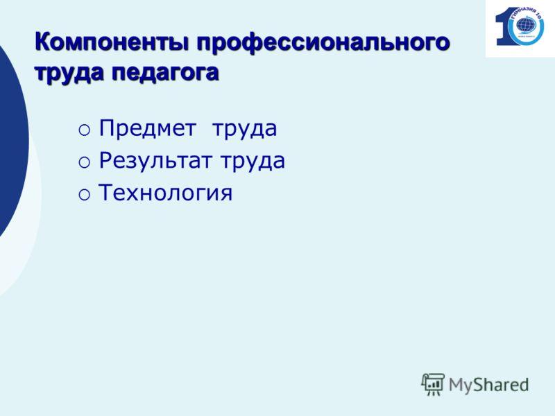 Компоненты профессионального труда педагога Предмет труда Результат труда Технология