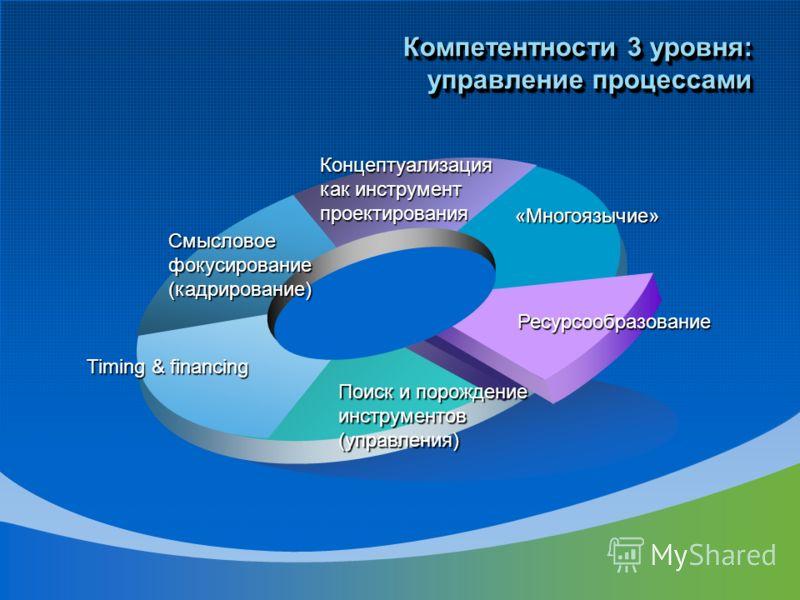 «Многоязычие» Концептуализация как инструмент проектирования Смысловоефокусирование(кадрирование) Timing & financing Поиск и порождение инструментов (управления) Ресурсообразование Компетентности 3 уровня: управление процессами