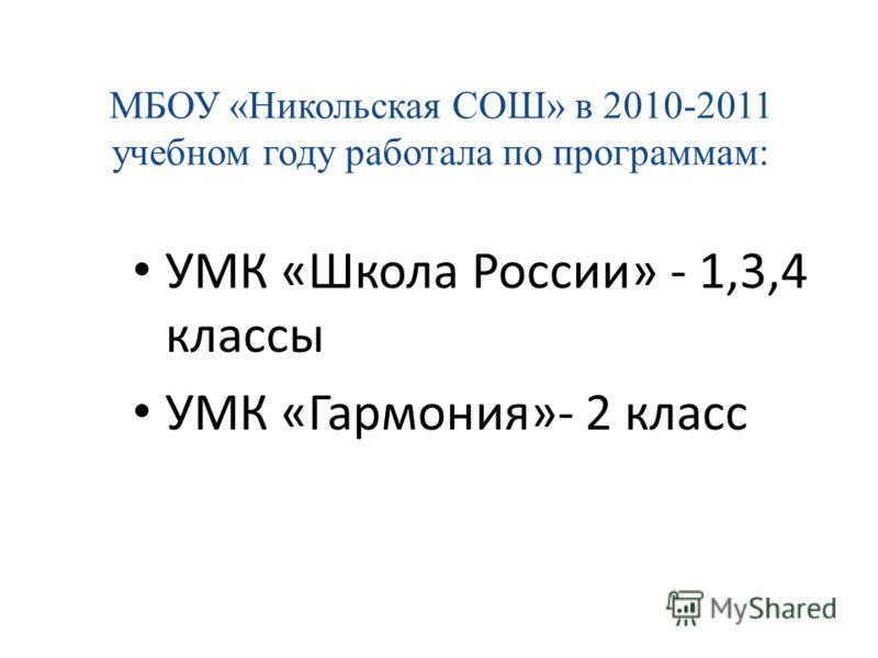 МБОУ «Никольская СОШ» в 2010-2011 учебном году работала по программам: УМК «Школа России» - 1,3,4 классы УМК «Гармония»- 2 класс