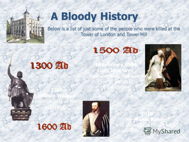 A Bloody History Below is a list of just some of the people who were killed at the Tower of London and Tower Hill 1305 William Wallace, a patriotic Scot of Welsh descent, In February 1554 Lady Jane Grey, upon marrying she was in line of succession to