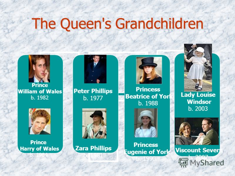 The Queen's Grandchildren Prince William of Wales b. 1982 Prince Harry of Wales b. 1984 Peter Phillips b. 1977 Zara Phillips b. 1981 Princess Beatrice of York b. 1988 Princess Eugenie of York b. 1990 Lady Louise Windsor b. 2003 Viscount Severn b. 200