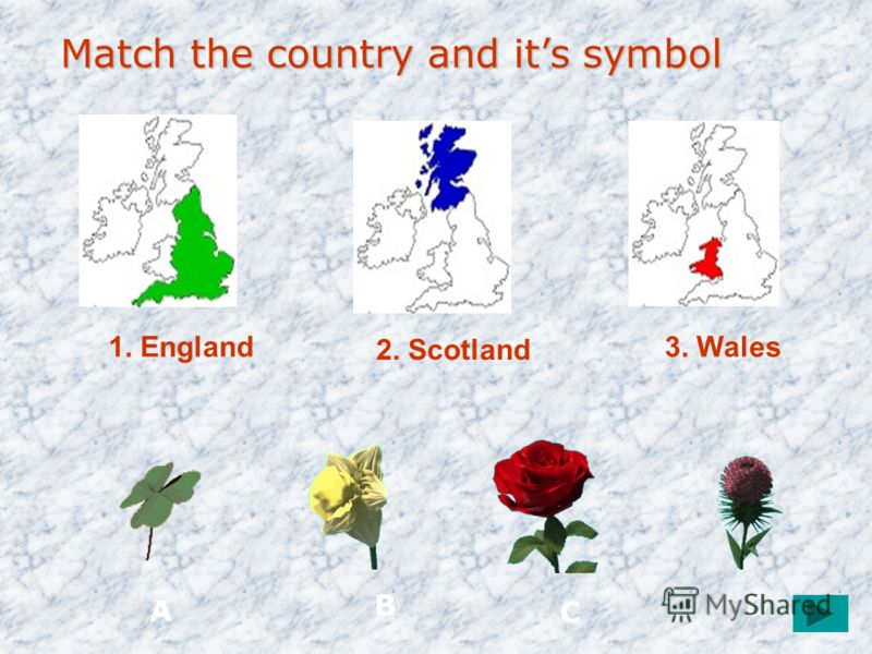 1. England 2. Scotland 3. Wales Match the country and its symbol Match the country and its symbol A B C D