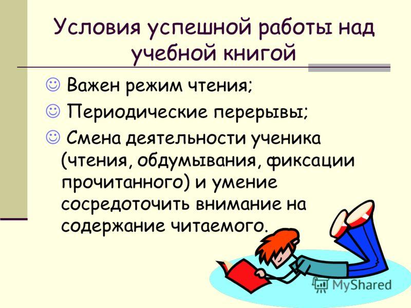 Условия успешной работы над учебной книгой Важен режим чтения; Периодические перерывы; Смена деятельности ученика (чтения, обдумывания, фиксации прочитанного) и умение сосредоточить внимание на содержание читаемого.