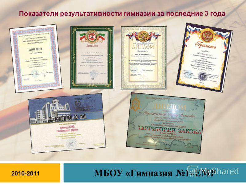 Показатели результативности гимназии за последние 3 года 2010-2011 МБОУ «Гимназия 1»ЕМР