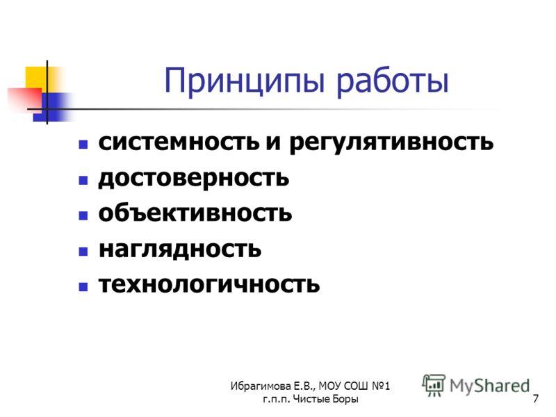 Ибрагимова Е.В., МОУ СОШ 1 г.п.п. Чистые Боры7 Принципы работы системность и регулятивность достоверность объективность наглядность технологичность