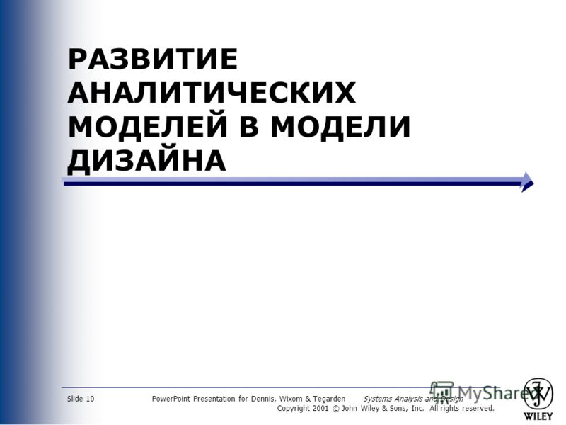PowerPoint Presentation for Dennis, Wixom & Tegarden Systems Analysis and Design Copyright 2001 © John Wiley & Sons, Inc. All rights reserved. Slide 10 РАЗВИТИЕ АНАЛИТИЧЕСКИХ МОДЕЛЕЙ В МОДЕЛИ ДИЗАЙНА