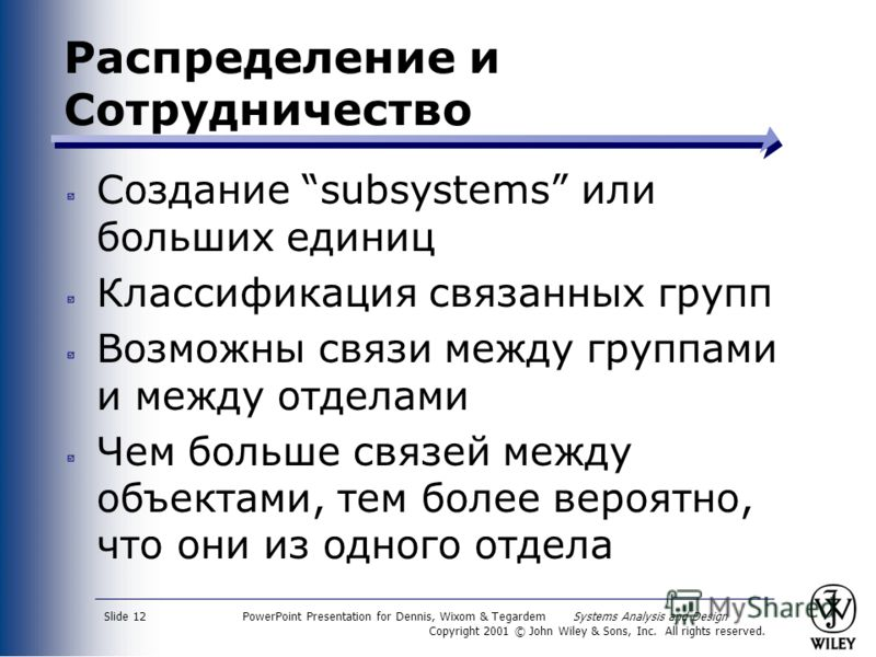 PowerPoint Presentation for Dennis, Wixom & Tegardem Systems Analysis and Design Copyright 2001 © John Wiley & Sons, Inc. All rights reserved. Slide 12 Распределение и Сотрудничество Создание subsystems или больших единиц Классификация связанных груп