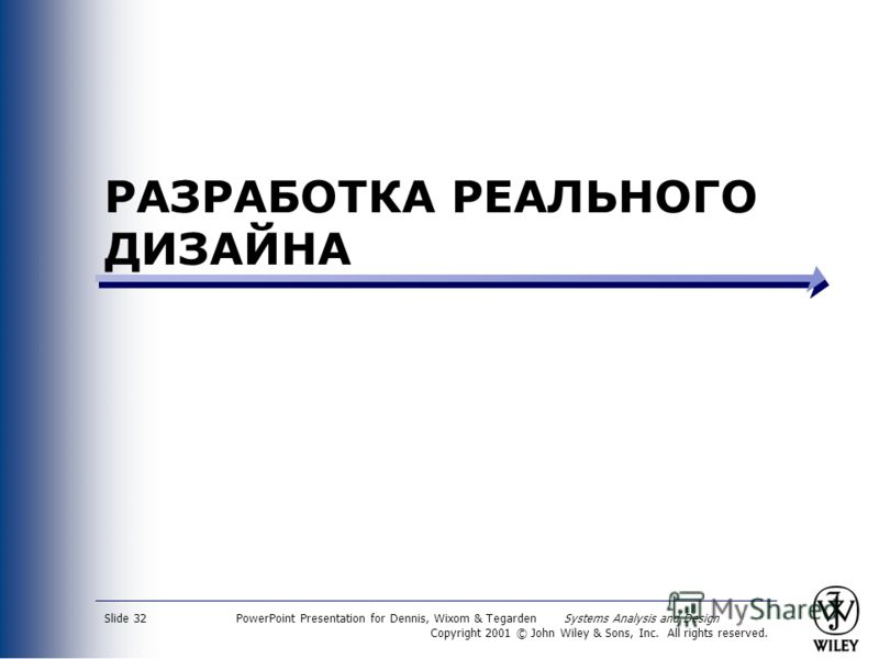 PowerPoint Presentation for Dennis, Wixom & Tegarden Systems Analysis and Design Copyright 2001 © John Wiley & Sons, Inc. All rights reserved. Slide 32 РАЗРАБОТКА РЕАЛЬНОГО ДИЗАЙНА
