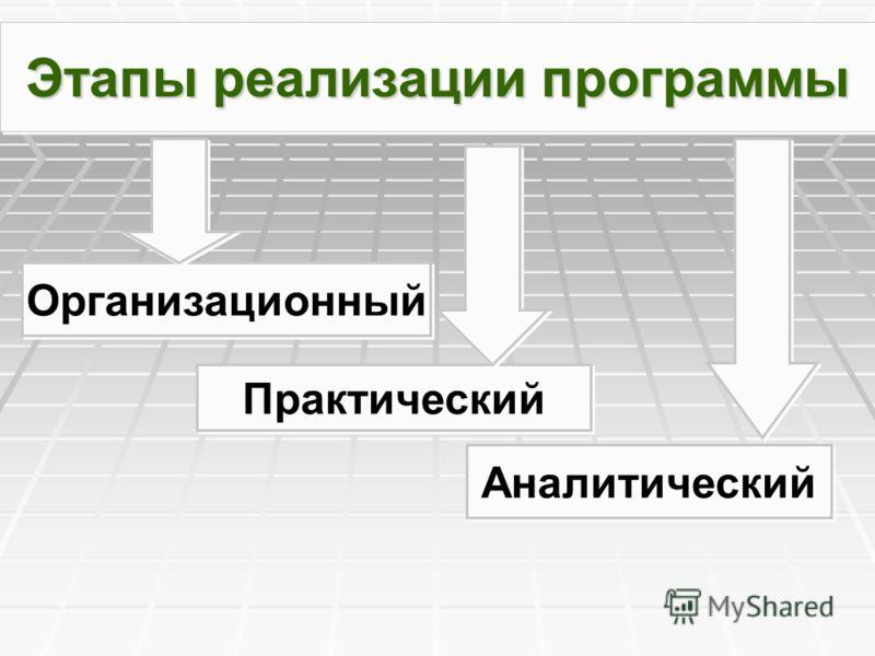 Этапы реализации программы Организационный Практический Аналитический