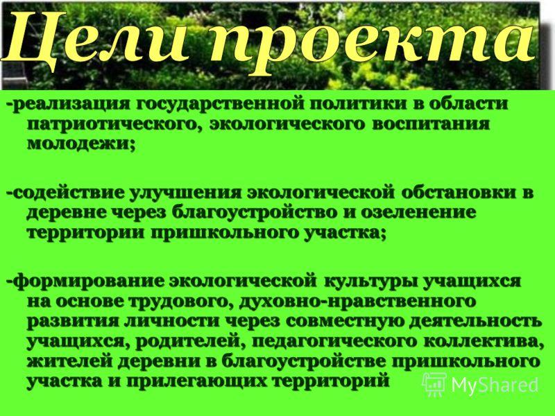 -реализация государственной политики в области патриотического, экологического воспитания молодежи; -содействие улучшения экологической обстановки в деревне через благоустройство и озеленение территории пришкольного участка; -формирование экологическ