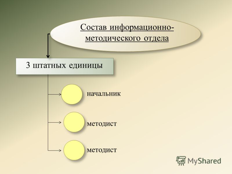 Состав информационно- методического отдела 3 штатных единицы начальник методист