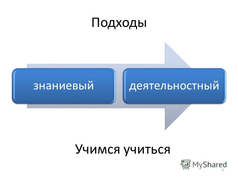 Подходы знаниевыйдеятельностный 5 Учимся учиться