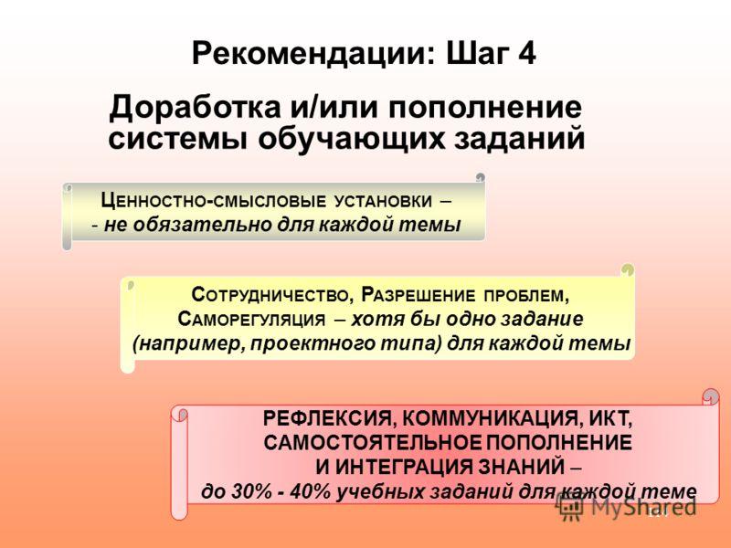 114 Рекомендации: Шаг 4 Доработка и/или пополнение системы обучающих заданий Ц ЕННОСТНО - СМЫСЛОВЫЕ УСТАНОВКИ – - не обязательно для каждой темы РЕФЛЕКСИЯ, КОММУНИКАЦИЯ, ИКТ, САМОСТОЯТЕЛЬНОЕ ПОПОЛНЕНИЕ И ИНТЕГРАЦИЯ ЗНАНИЙ – до 30% - 40% учебных задан