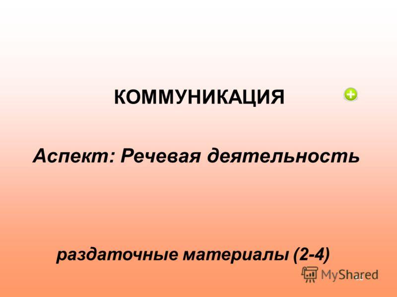 62 КОММУНИКАЦИЯ Аспект: Речевая деятельность раздаточные материалы (2-4)