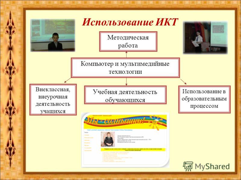 Использование ИКТ Методическая работа Компьютер и мультимедийные технологии Учебная деятельность обучающихся Внеклассная, внеурочная деятельность учащихся Использование в образовательным процессом