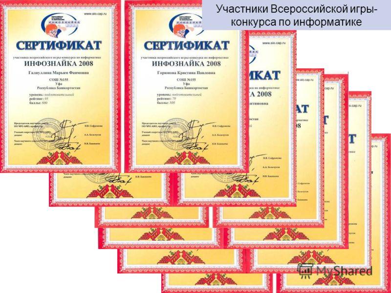 Участники Всероссийской игры- конкурса по информатике