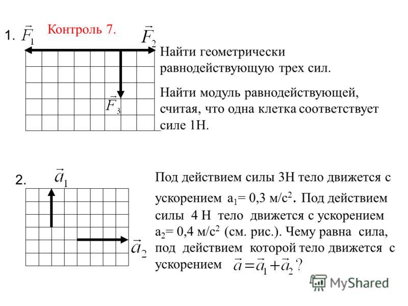 Найти геометрически равнодействующую трех сил. Найти модуль равнодействующей, считая, что одна клетка соответствует силе 1Н. Под действием силы 3Н тело движется с ускорением а 1 = 0,3 м/с 2. Под действием силы 4 Н тело движется с ускорением а 2 = 0,4