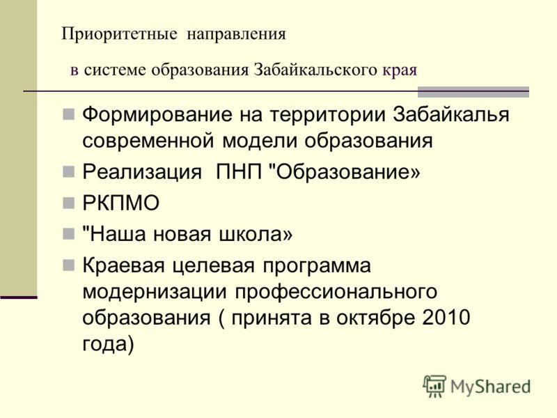 Приоритетные направления в системе образования Забайкальского края Формирование на территории Забайкалья современной модели образования Реализация ПНП
