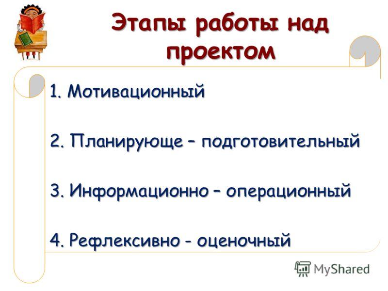 Этапы работы над проектом 1. Мотивационный 2. Планирующе – подготовительный 3. Информационно – операционный 4. Рефлексивно - оценочный