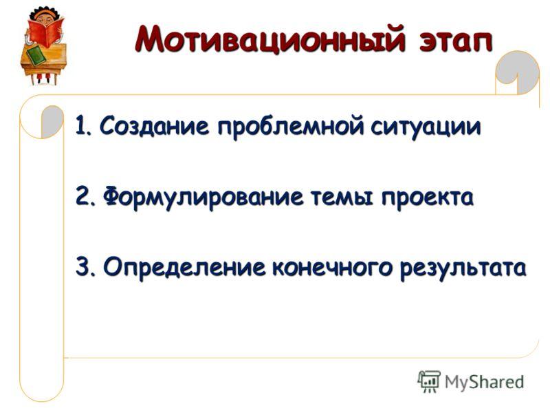 Мотивационный этап 1. Создание проблемной ситуации 2. Формулирование темы проекта 3. Определение конечного результата