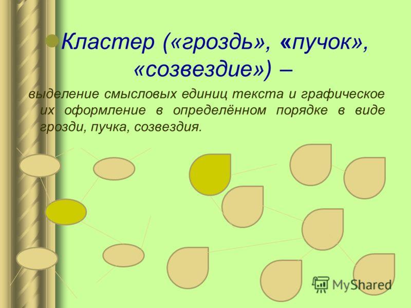 Кластер («гроздь», «пучок», «созвездие») – выделение смысловых единиц текста и графическое их оформление в определённом порядке в виде грозди, пучка, созвездия.