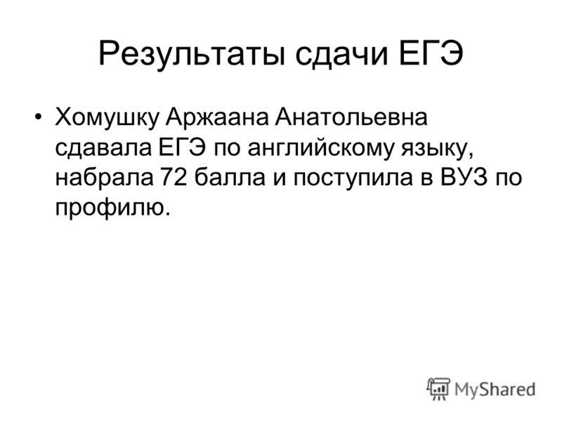 Результаты сдачи ЕГЭ Хомушку Аржаана Анатольевна сдавала ЕГЭ по английскому языку, набрала 72 балла и поступила в ВУЗ по профилю.
