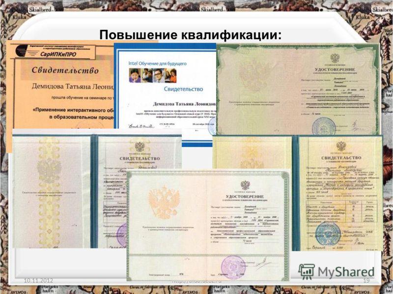 10.11.2012http://aida.ucoz.ru19 Повышение квалификации: