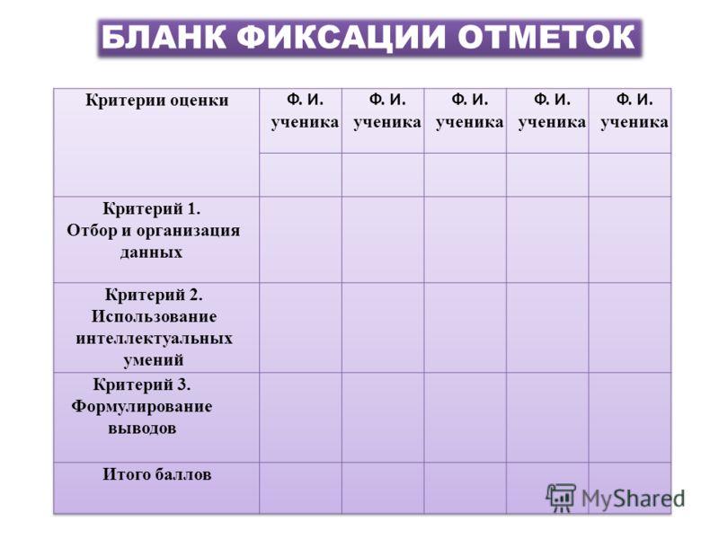 БЛАНК ФИКСАЦИИ ОТМЕТОК