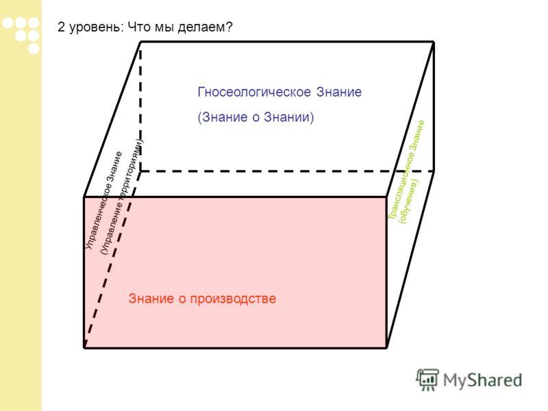 2 уровень: Что мы делаем? Знание о производстве Гносеологическое Знание (Знание о Знании) Управленческое Знание (Управление территориями) Трансляционное Знание (обучение)