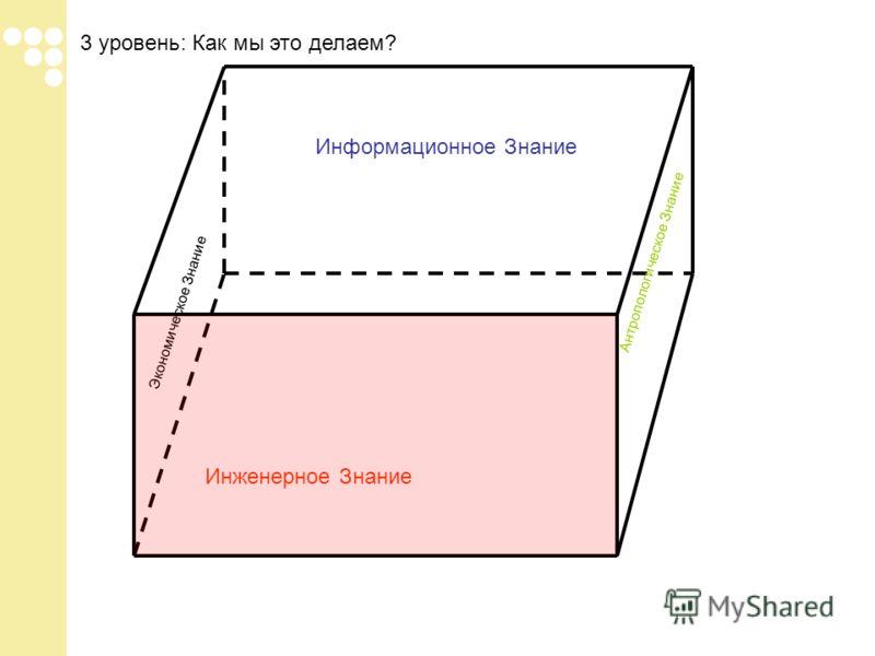 3 уровень: Как мы это делаем? Инженерное Знание Информационное Знание Экономическое Знание Антропологическое Знание