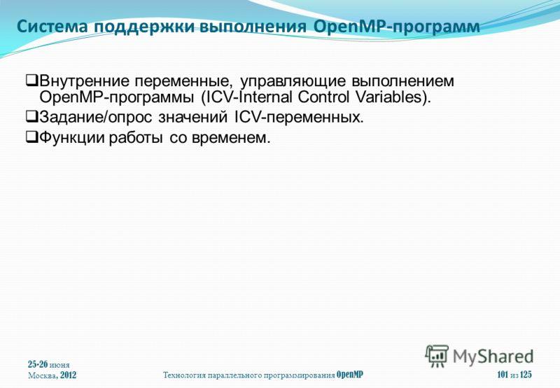 25-26 июня Москва, 2012Технология параллельного программирования OpenMP101 из 125 Внутренние переменные, управляющие выполнением OpenMP-программы (ICV-Internal Control Variables). Задание/опрос значений ICV-переменных. Функции работы со временем. Сис