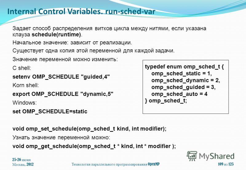 25-26 июня Москва, 2012Технология параллельного программирования OpenMP109 из 125 Задает способ распределения витков цикла между нитями, если указана клауза schedule(runtime). Начальное значение: зависит от реализации. Существует одна копия этой пере