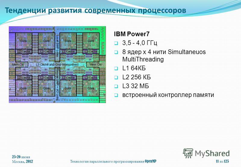 25-26 июня Москва, 2012 Технология параллельного программирования OpenMP 11 из 125 IBM Power7 3,5 - 4,0 ГГц 8 ядер x 4 нити Simultaneuos MultiThreading L1 64КБ L2 256 КБ L3 32 МБ встроенный контроллер памяти Тенденции развития современных процессоров