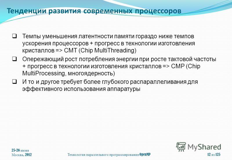 25-26 июня Москва, 2012Технология параллельного программирования OpenMP12 из 125 Темпы уменьшения латентности памяти гораздо ниже темпов ускорения процессоров + прогресс в технологии изготовления кристаллов => CMT (Chip MultiThreading) Опережающий ро