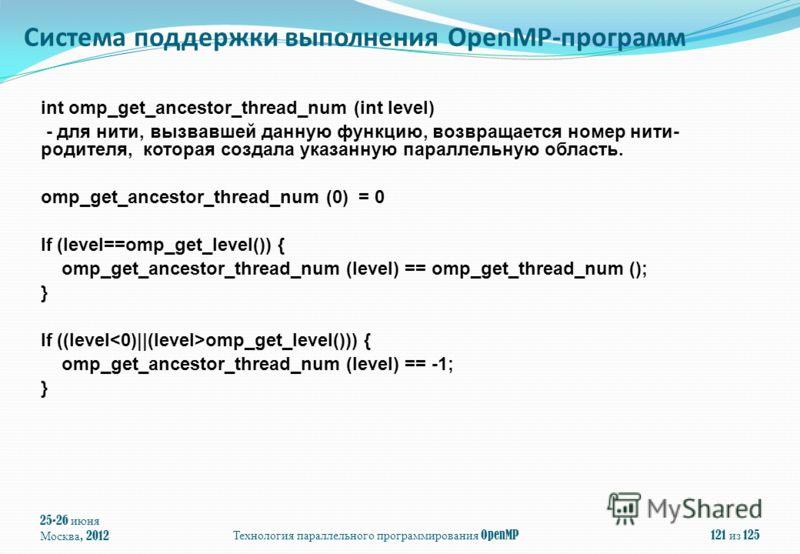 25-26 июня Москва, 2012Технология параллельного программирования OpenMP121 из 125 int omp_get_ancestor_thread_num (int level) - для нити, вызвавшей данную функцию, возвращается номер нити- родителя, которая создала указанную параллельную область. omp
