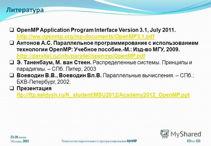25-26 июня Москва, 2012Технология параллельного программирования OpenMP124 из 125 OpenMP Application Program Interface Version 3.1, July 2011. http://ww.openmp.org/mp-documents/OpenMP3.1.pdf Антонов А.С. Параллельное программирование с использованием